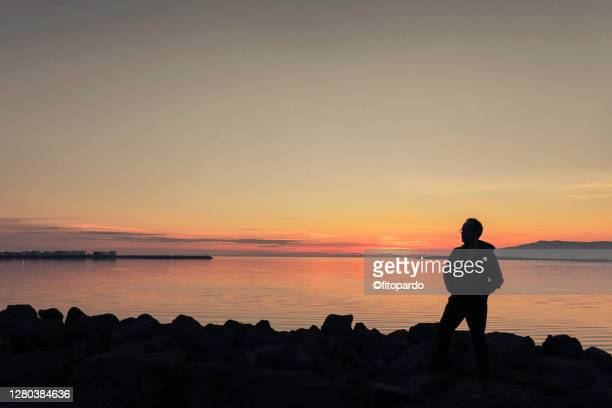 a person poses for the midnight sun landscape in reykjavik - capital region stock pictures, royalty-free photos & images