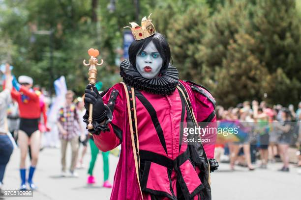 A person poses on Charles St during the 2018 Boston Pride Parade on June 9 2018 in Boston Massachusetts