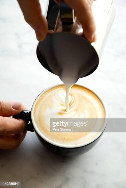 Person pouring steamed milk into cappuccino