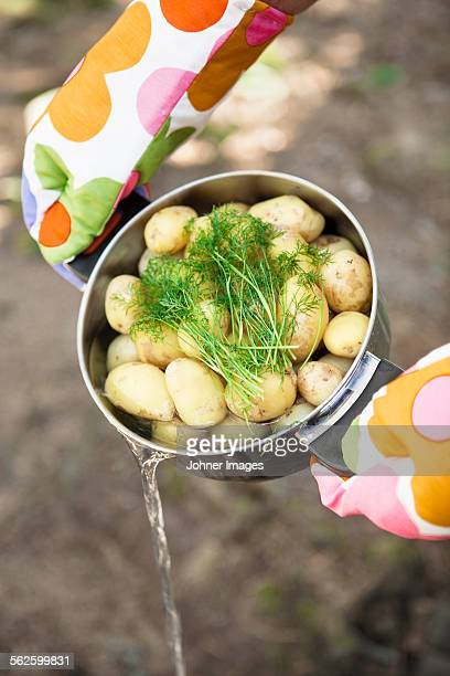 Person pouring water out of potatoes in saucepan