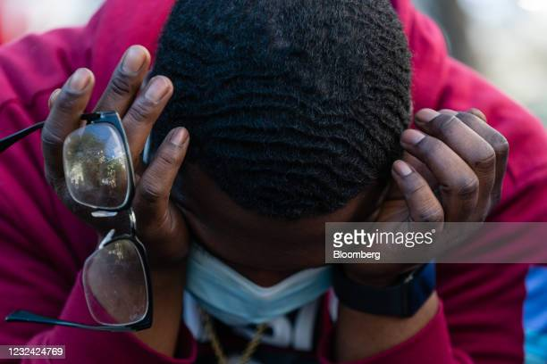 Person reacts to the guilty verdict of former Minneapolis police officer Derek Chauvin at Black Lives Matter Plaza in Washington, D.C., U.S., on...