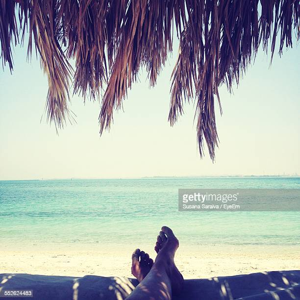 Person Relaxing On Beach, Low Section