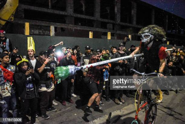 A person rides towards his opponent during a round of bike jousting during the annual Bike Kill event on October 26 2019 in New York City Bike Kill...