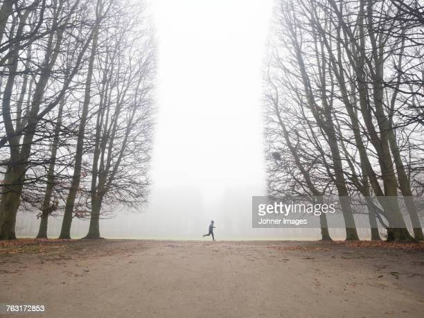 Person running in foggy park