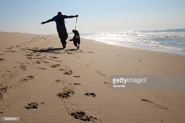 Person running with dog