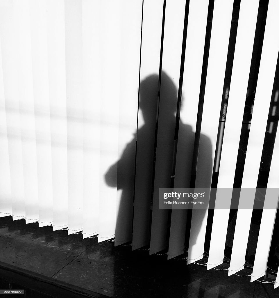 Person Shadow On Blinds : Foto stock