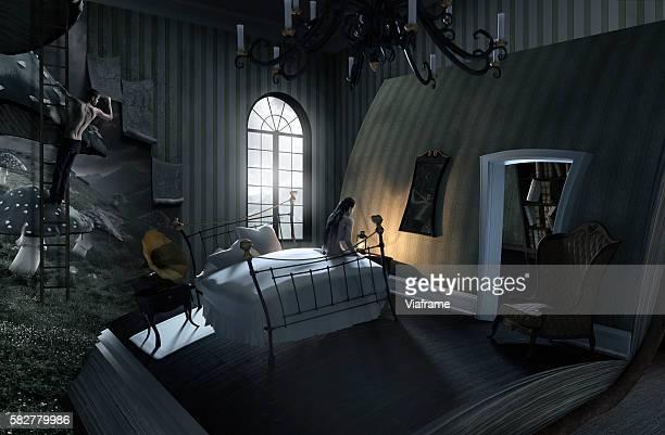 person sitting on bed in deformed bedroom (digital composite) - onirique photos et images de collection