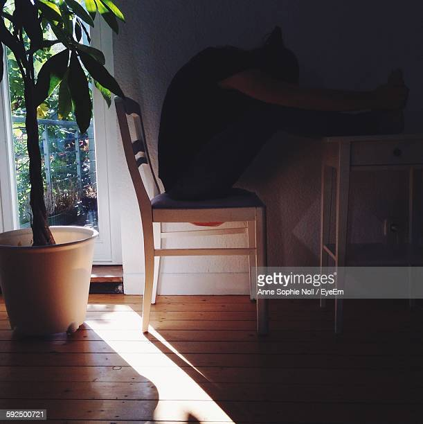Person Sitting On Chair At Home