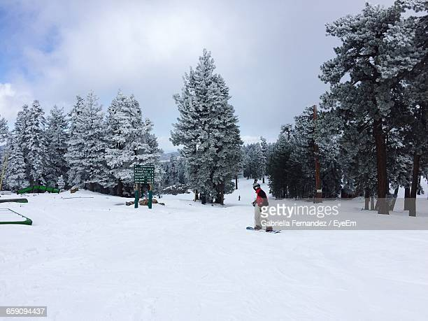 Person Skateboarding On Snow Covered Field