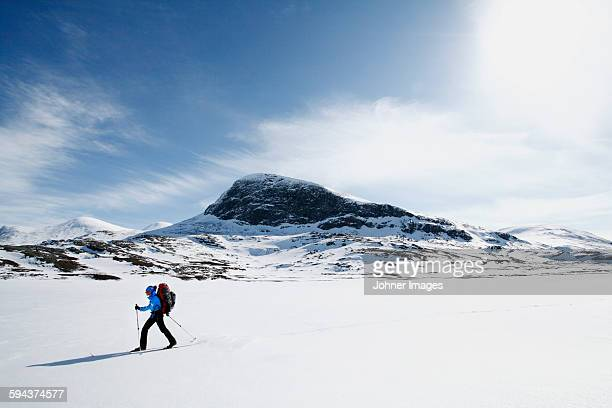 person skiing - langlaufen stockfoto's en -beelden