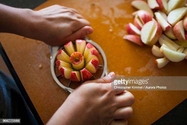 person slicing apple with apple slicer - obstbaum stock-fotos und bilder