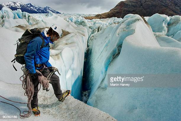 Person standing on frozen mountainside in Santa Cruz Province, Argentina