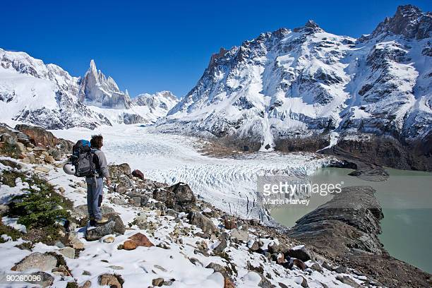 Person standing on stones in valley in Santa Cruz Province, Argentina