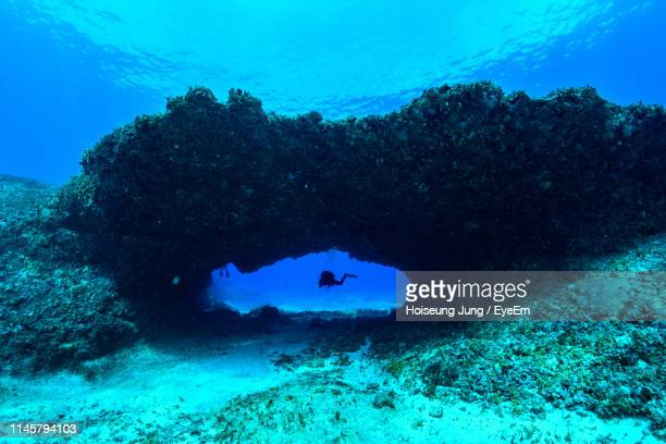 person swimming in sea - northern mariana islands stock pictures, royalty-free photos & images