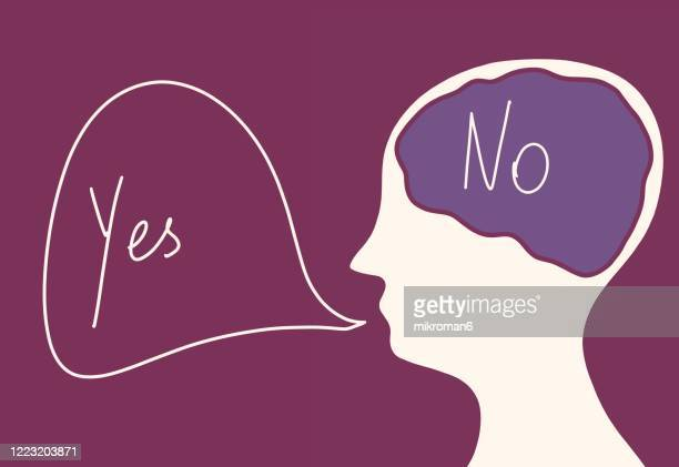 a person thinking no and saying yes - smart stock pictures, royalty-free photos & images