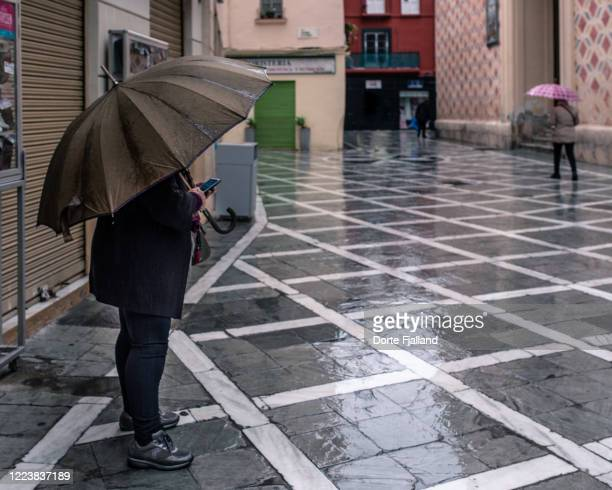 a person under a big brown umbrella on a wet street and few other people in the background - dorte fjalland stock pictures, royalty-free photos & images