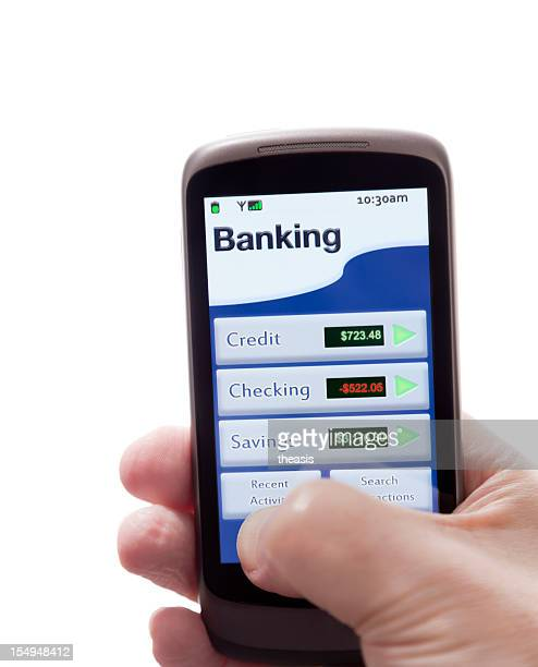 Person using a mobile banking app