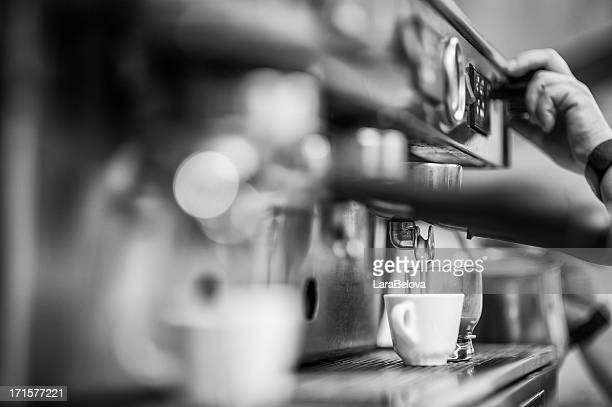 person using an espresso machine - black and white food stock pictures, royalty-free photos & images