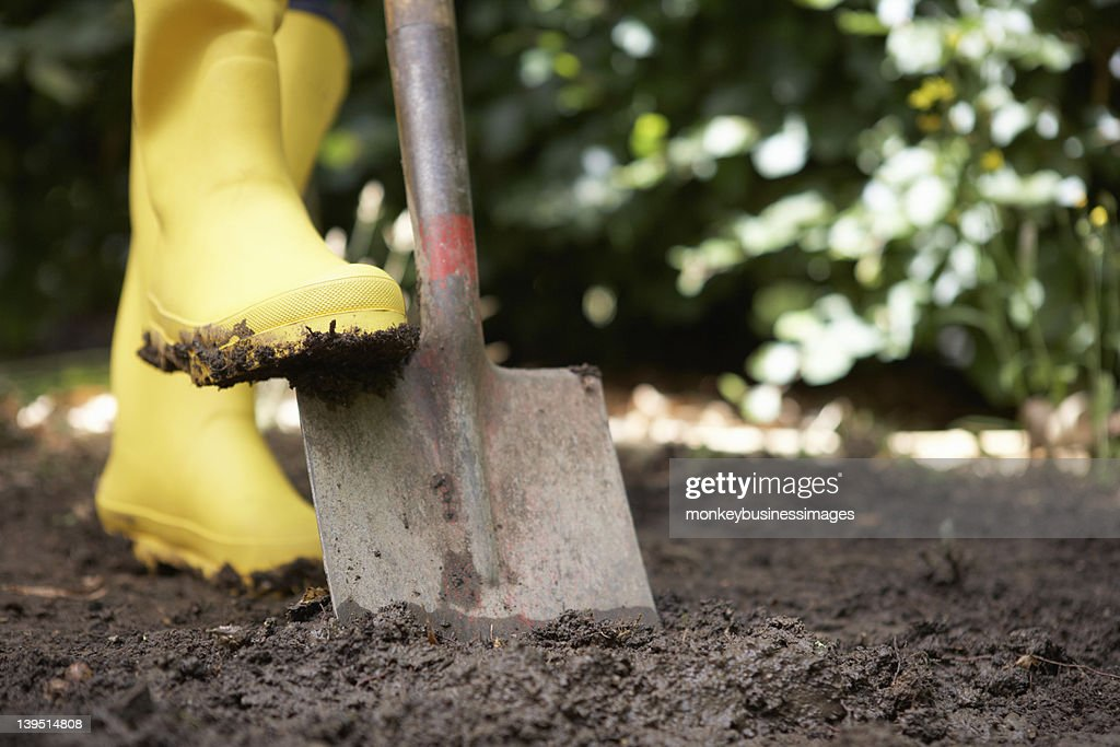 Person using yellow boots and shovel in a garden : Stock Photo