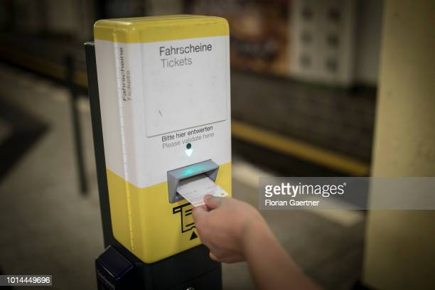A person validates a ticket on August 09 2018 in Berlin Germany