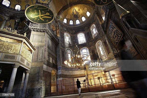 A person visits the church Hagia Sofia November 26 2006 in Istanbul Turkey Pope Benedict XVI arrives November 28th in Turkey for his first papal...