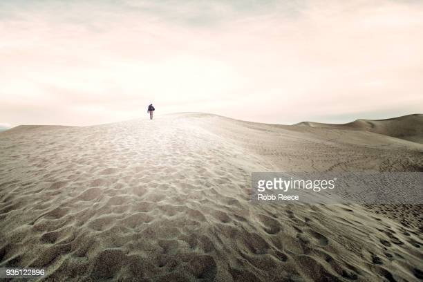 a person walking alone on a remote sand dune - robb reece fotografías e imágenes de stock