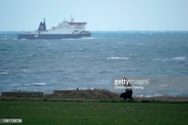 Person walks along the coastal footpath at Sangatte as a cross channel ferry makes its way to Calais January 09, 2019 in Calais, France. In recent...