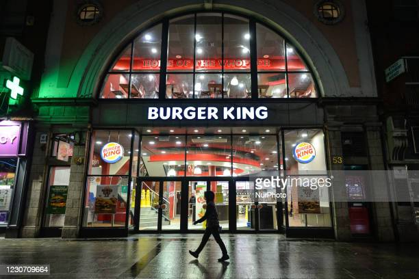 Person walks by Burger King fast food restaurant in O'Connell Street in Dublin during Level 5 Covid-19 lockdown. On Wednesday, 20 January in Dublin,...