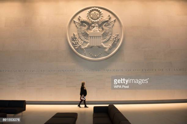 A person walks inside prior to the unveiling of the new US Embassy building in Nine Elms in Wandsworth on December 13 2017 in London England The new...