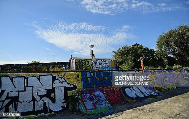 A person walks next to street artis's works at at the NDSM shipyards in Amsterdam on September 27 2016 / AFP / EMMANUEL DUNAND / RESTRICTED TO...