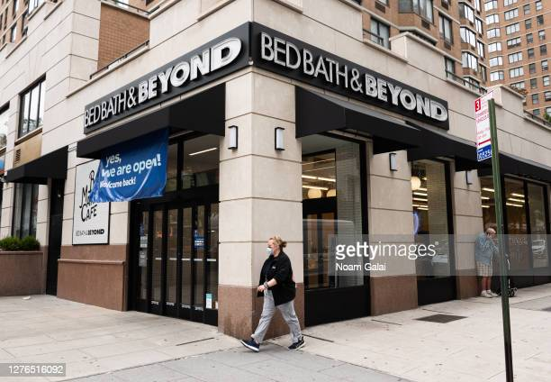 Person walks outside Bed Bath & Beyond in Kips Bay as the city continues Phase 4 of re-opening following restrictions imposed to slow the spread of...