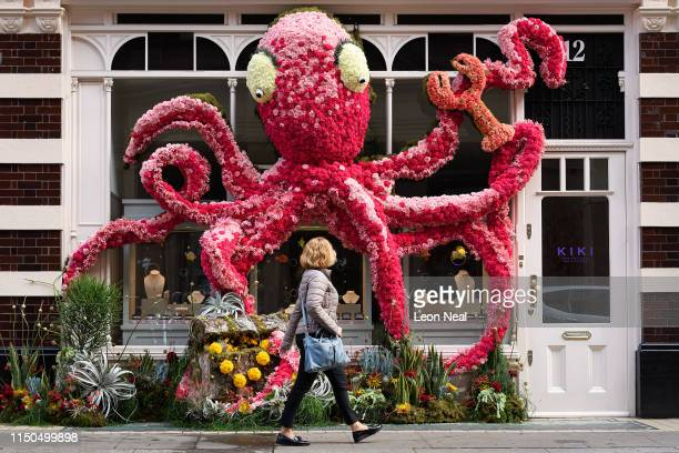 A person walks past a floral window display in the window of the Kiki McDonough store near Sloane Square as businesses unveil this years creations in...