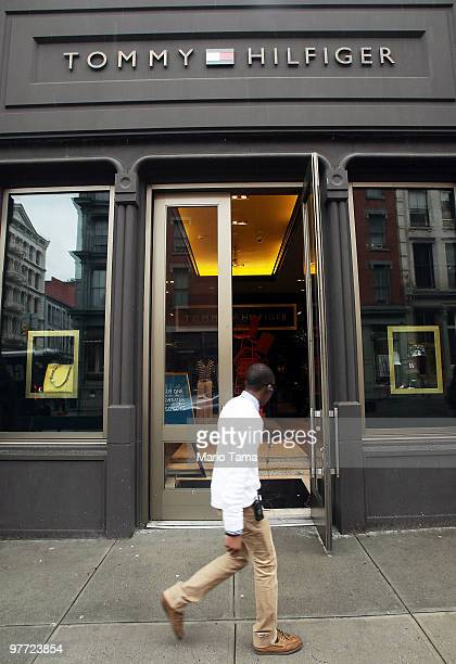 Person walks past a Tommy Hilfiger clothing store in Manhattan March 15, 2010 in New York City. Phillips-Van Heusen Corp announced it will purchase...