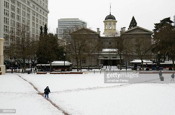 A person walks through Pioneer Courthouse Square during a major ice storm January 8 2004 in Portland Oregon The storm shut down Portland...