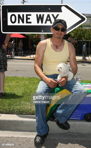 Person watching at Gay Pride Parade on Santa Monica Boulvard on June 8 2008 in West Hollywood California