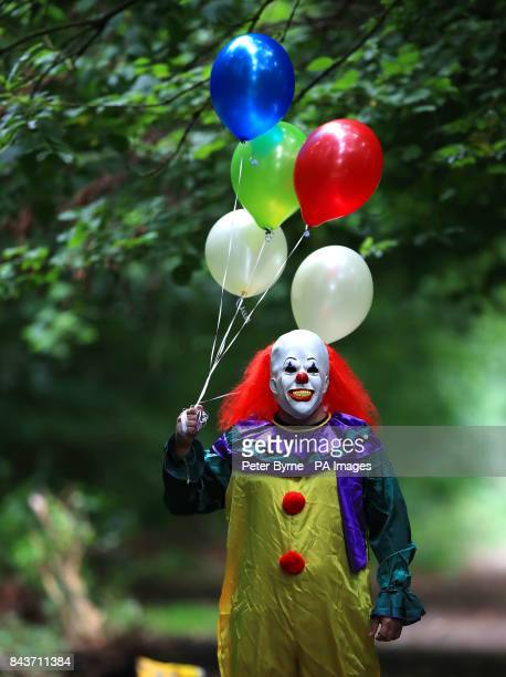 A person wearing a clown costume in Liverpool as reviews for the film adaptation of Stephen King's It are in with critics predicting the movie will...