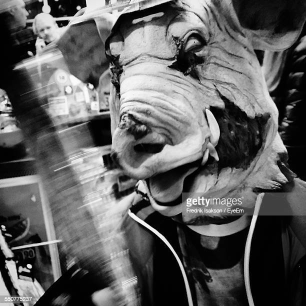Person Wearing Pig Mask