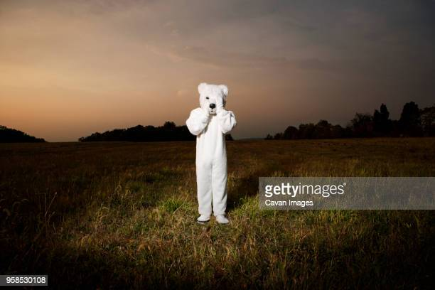 person wearing polar bear costume while standing on field during sunset - animal costume stock pictures, royalty-free photos & images