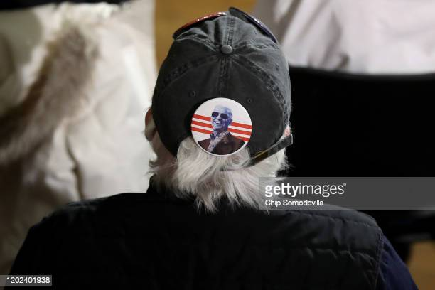 A person wears a campaign button with an image of Democratic presidential candidate former Vice President Joe Biden during a campaign event at the...