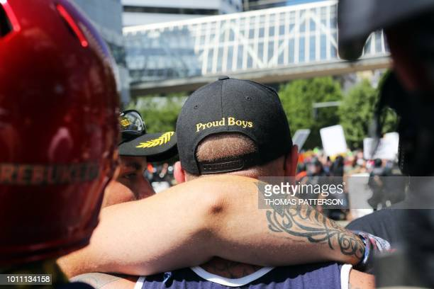 A person wears a hat of US farright men's organisation Proud Boys as rightwing rally organizer Patriot Prayer founder and Republican Senate candidate...