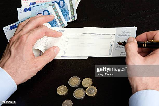 Person with cheque book