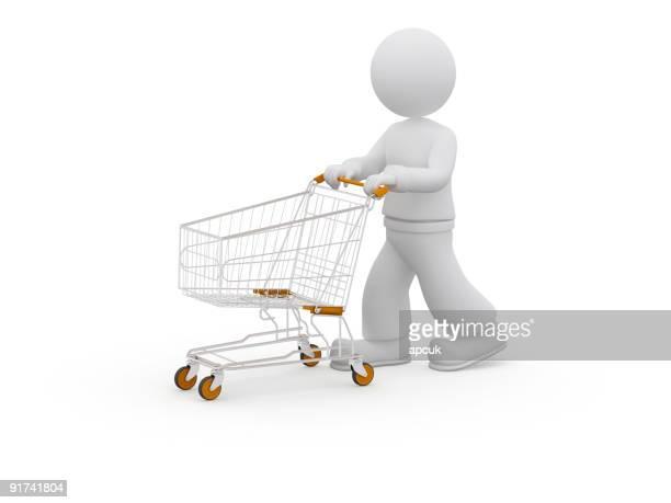 3 D person mit Einkaufswagen.