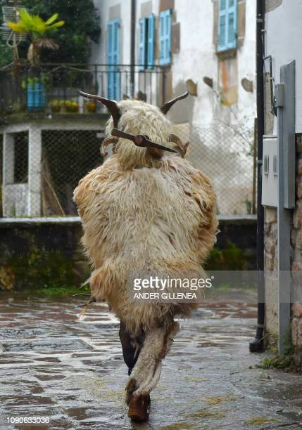 A person wrapped in sheep fur runs during the ancient carnival of Ituren in the northern Spanish Navarra province on January 28 2019 The yearly three...
