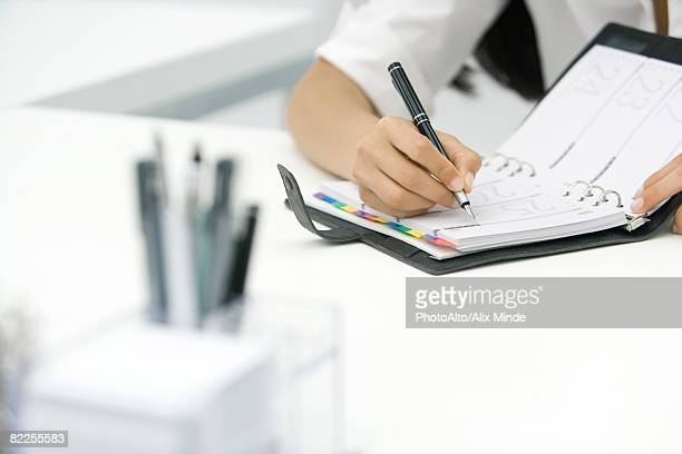 Person writing in agenda, cropped view