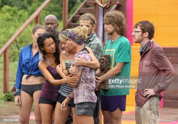 "'Persona Non Grata' Brenda Lowe and Dawn Meehan comfort Andrea Boehlke of the Bikal Tribe during the fifth episode of SURVIVOR CARAMOAN "" FANS VS..."