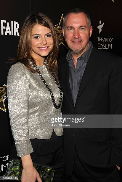 Personaity Maria Menounos and Vanity Fair publisher Edward Menicheschi arrive at the Bally and Vanity Fair Hollywood Domino Game Night benefiting The...