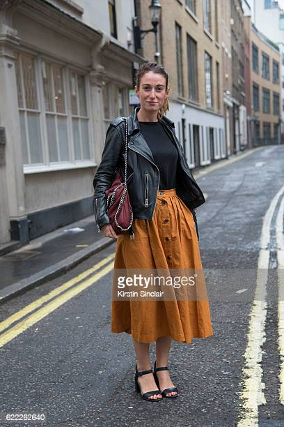 Personal assistant Eleonore Bobard wears a Mango top All Saints jacket HM skirt and Stella McCartney bag day 4 of London Womens Fashion Week...