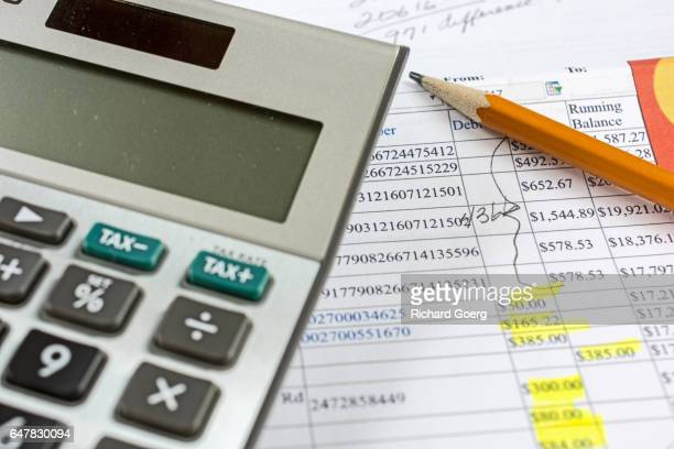personal bank statement - balancing the account - bank statement stock pictures, royalty-free photos & images