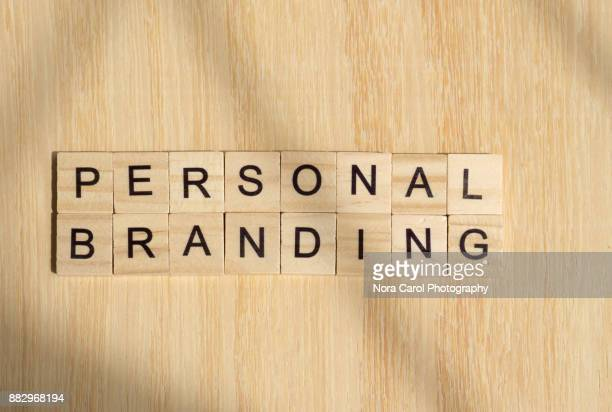 Personal Branding Word on Wooden Tile Block
