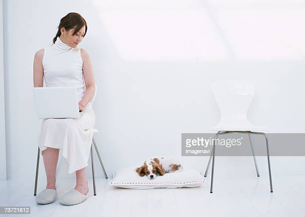 personal computer scene - female bare bottoms stock photos and pictures